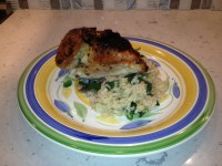 Gourmet Baked Chicken w/ Creamy Spinach Brown Rice